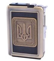 """Портсигар с зажигалкой и автоматическим выбросом сигарет """"Украина"""" (2718 )"""