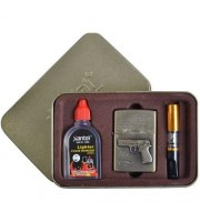 Подарочный Набор (GUN) 3 в 1 Зажигалка, бензин, мундштук 4716
